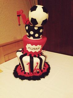 My soccer player yet girly-girl grand-daughters  (note the soccer ball & high heel) 16th Birthday soccer cake by Whimsy Cakes-Fresno Ca