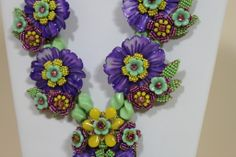 Stanley Hagler Spring Floral Beaded Necklace with Earrings image 4