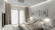 Projekt sypialni Inventive Interiors - piękna biała tapeta rozjaśnia i odświeża beżową sypialnię