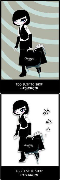두가지 버전의 'Too Busy to Shop' by 마리킴
