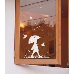 Rain Girl Wall Decals