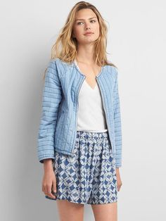 Tencel&#174 quilted bomber jacket