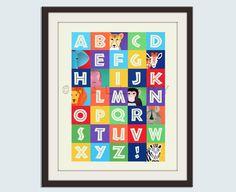 Alphabet art for nursery ABC print childrens art safari by Wallfry. $18.00, via Etsy.