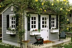 Grey house, navy trim around windows, white windows [ Barndoorhardware.com ] #country #hardware #slidingdoor