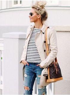 Capsule Wardrobe Inspo: denim, stripes, trench, and a classic bag