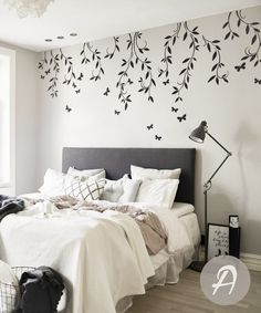 Nursery tree decal branches and butterflies decal vinyl Wall Painting Decor, Nursery Wall Decor, Diy Wall Art, Bedroom Decor, Painting Designs On Walls, Wall Painting Living Room, Wall Decals For Bedroom, Bedroom Wall Paints, Decals For Walls