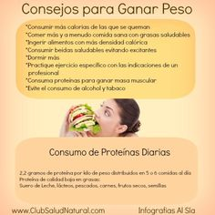 Dieta para Subir de Peso e Incrementar la Masa Muscular - Club Salud Natural