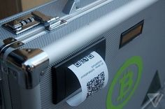 Trading infographic : Bitcoin Suitcase Eats Your Pocket Change Spits Out Digital Currency