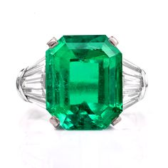 Stunning Colombian GIA 10.59cts Emerald Diamond Platinum Ring Item # 901485