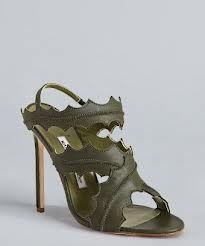 Manolo Blahnik green leather