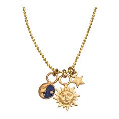 Gold Sky Charm Pendant Necklace (3.390 RUB) ❤ liked on Polyvore featuring jewelry, necklaces, accessories, gold, fashion jewelrynecklaces, charm necklaces, gold jewellery, yellow gold pendant necklace, gold jewelry and gold pendant necklace