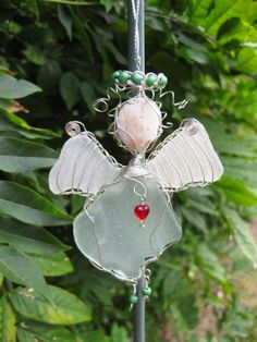 Sea Glass Angel Ornament silver wire green halo and shoes red heart necklace sweet