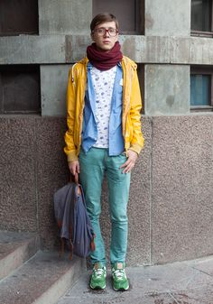 "Kostia, 20    ""All my clothes are from Topshop – we just love Topshop in St Petersburg where I live.  My favourite colour is yellow.""  29 September 2012, Ylioppilasaukio"