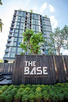 THE BASE Height Udonthani, condominium near Central Plaza by Sansiri Entrance Signage, Entrance Design, Entrance Gates, Gate Design, Facade Design, House Design, Landscape Concept, Landscape Walls, Landscape Design