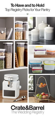 Pantry organization has never been easier with kitchen storage containers that fit everything from equipment to baking essentials. Create your registry today and build the storage pantry of your dreams. Interior Design Career, Interior Design Living Room, Living Room Designs, Kitchen Redo, Kitchen Pantry, Kitchen Storage Containers, Home Gadgets, Pantry Organization, Organizing Your Home