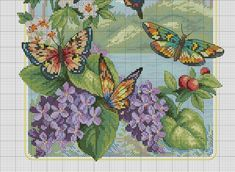 Butterfly Forest 2 of 2 Butterfly Cross Stitch, Cross Stitch Tree, Cross Stitch Animals, Cross Stitch Flowers, Counted Cross Stitch Patterns, Cross Stitch Designs, Cross Stitch Embroidery, Embroidery Patterns, Cross Stitch Boards