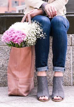Fresh flowers and a blush tote!