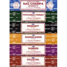 $7.95       Set of 6 x 15g Boxes Incense Nag Champa Sunrise Sandalwood Midnight Patchouli Celestial #incense #sandalwood #home #house #scents  http://www.InTheWind.org