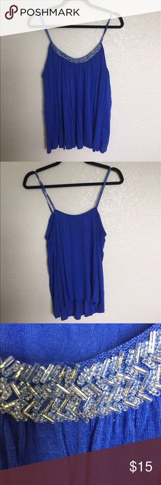 Blue tank Vibrant shade of blue with beaded detail on neckline, adjustable straps Candie's Tops Tank Tops
