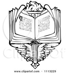 Clipart Vintage Black And White Open Book Over Wings And A Torch - Royalty Free Vector Illustration by Prawny Vintage Open Bible, Open Book, Bible Tattoos, Clip Art Pictures, Blog Logo, Royalty Free Clipart, Free Vector Illustration, Free Cartoons, Cartoon Styles