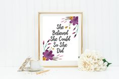 "Nursery Quote ""She believed she could so she did"" Nursery Decor, Motivational Print, Inspirational Print, Nursery Print, Wall Print by LuxeArtPrints on Etsy"