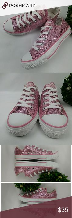 Converse All Star pink glitter shoes Converse All Star pink sparkle glitter shoes. In excellent clean condition. Worn handful of times. Originally from Nordstrom. They are womens size 5. 22cm. Converse Shoes Athletic Shoes