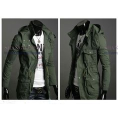 Mens Military Hoodie Coat Jacket Funnel Neck Long Hooded Trench Black/Army Green