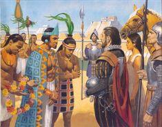 """Montezuma and """"Quetzalcoatl""""… er… Hernan Cortes PRETENDING to be Quetzalcoatl… y la Malinche too… Conquistador, Aztec Emperor, Aztec History, Aztec Culture, Aztec Warrior, Inka, Mesoamerican, Mexican Art, Ancient Civilizations"""