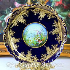 """11'' Hand-painted Limoges France Gold Encrusted Raised Gilt Cobalt Blue charger/ plate, artist signed """"Golse. Mariay"""", 1880"""