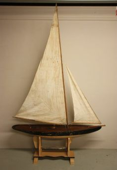 Large Antique Racing Pond Yacht