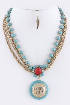 ETCHED AMAZING GRACE DISK WITH SEMI PRECIOUS STONE ACCENT LAYER NECKLACE SET