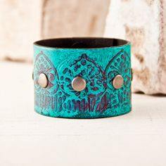 Turquoise Jewelry  Leather Cuffs Shabby Chic Bracelets Gypsy Wristband Bohemian Southwestern Upcycled Gift Cuff Bracelet on Etsy, $38.00