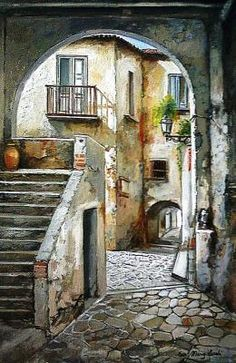 Borgo Antico, oil painting by Francesco Mangialardi Watercolor Architecture, Watercolor Landscape, Landscape Paintings, Watercolor Paintings, Watercolour, Art Abstrait, Urban Sketching, Painting Inspiration, Art Drawings