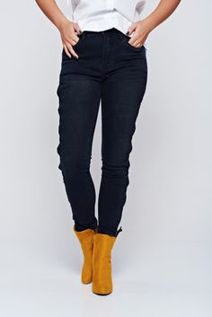 Black casual cotton jeans with laced details, laced details