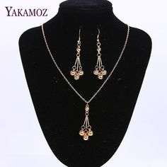 Gold Plated Jewellery Tassel Bead Shaped Drop Dangle Earring and Necklace Set