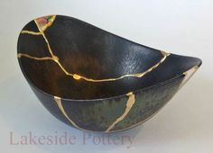 Kintsukuroi art - Yobitsugi style repair. Notice the fragment of foreign painted porcelain inserted on the far side. myb