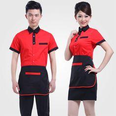 Encontrar más información acerca de Restaurante de comida rápida overoles… Staff Uniforms, Work Uniforms, Waiter Uniform, Hotel Uniform, Restaurant Uniforms, Waist Apron, Bandana, Uniform Design, Overall Shorts