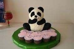 Panda Bear Birthday Cake - This 3-d panda was for a 10-year old's brithday party.  I didn't notice it at the time, but the black around the eyes is such a differnt shape!  oh well... she loved it, so I guess that's what matters!