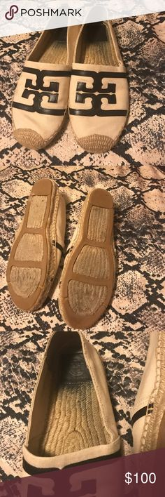 Tory Burch Espadrilles These espadrilles have only been worn twice. It did start raining once when I was wearing them which caused the bleeding on the inside and wear on the bottom! These shoes are so cute, I just didn't wear them as much as I thought. I don't have the original Tory box for these shoes but I can ship with another Tory shoe box if you want! Tory Burch Shoes Espadrilles