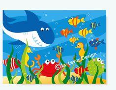 LEVAR DESIGN - Kinderzimmer Bild Fische Unterwasserwelt