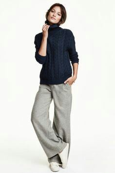 Wide pants: Wide Leg Wool Suit pants for those casual comfy wi. Street Style Looks, Looks Style, Style Me, Classy Style, Look Fashion, Winter Fashion, Fashion Outfits, Classy Fashion, Fashion Ideas