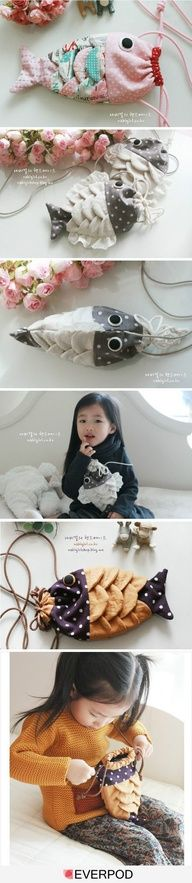 Fish Purse DIY cute gift for little girls! Cheryl could you come up with a pattern for this? I love it.