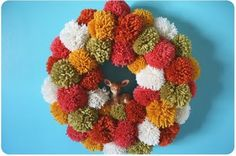 Tortoise and the Hare: pom pom wreath