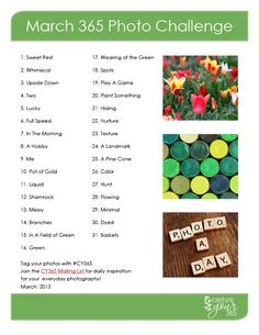 March 365 Photo Challenge List