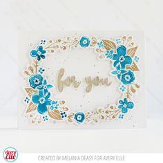 Melania Deasy for Avery Elle Floral Frame Clear Stamps Floral Frame Elle-ments Dies A Tag For All Elle-ments Dies