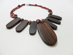 Vintage Necklace Polished Wood Glass Seed Beads by KathiJanes, $24.95