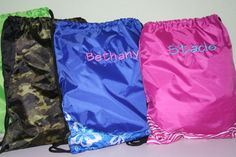 NEW Personalized Cinch Sacks Choose Font Style and Thread