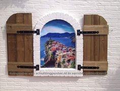 Tuinposter Cinque Terre in stenen venster gemaakt.