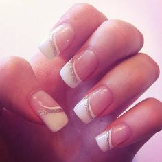 Wedding french nails - My wedding ideas - Nail Art Design Glitter French Nails, French Manicure Nails, French Nail Art, Manicure E Pedicure, Fancy Nails, Diy Nails, Manicure Ideas, Silver Nails, Gel Manicures