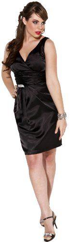 Satin Formal Little Black Dress Crystal Pin Prom Bridesmaid Junior Plus Size